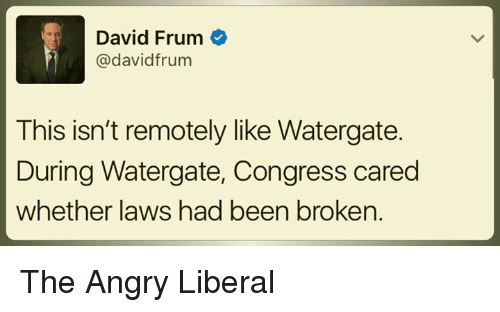 Angry, Been, and Congress: David Frum  @david frum  This isn't remotely like Watergate.  During Watergate, Congress cared  whether laws had been broken. The Angry Liberal