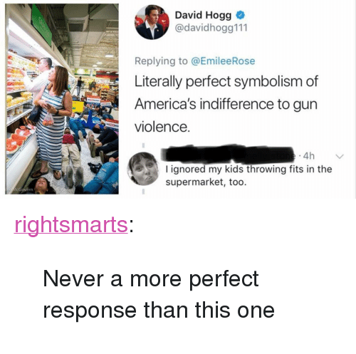 "Tumblr, Blog, and Kids: David Hogg  @davidhogg111  Replying to @EmileeRose  Literally perfect symbolism of  America's indifference to gun  violence.  4h  I ignored my kids throwing fits in the  supermarket, too. <p><a href=""https://rightsmarts.tumblr.com/post/174300824915/never-a-more-perfect-response-than-this-one"" class=""tumblr_blog"">rightsmarts</a>:</p><blockquote><p>Never a more perfect response than this one</p></blockquote>"