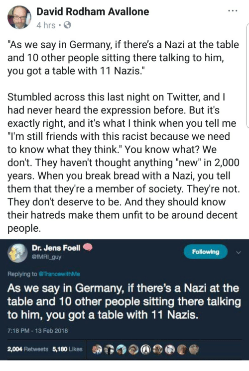 "Still Friends: David Rodham Avallone  4 hrs .  As we say in Germany, if there's a Nazi at the table  and T0 other people sitting there talking to him,  you got a table with 11 Nazis  Stumbled across this last night on Iwitter, and l  had never heard the expression before. But it's  exactly right, and it's what I think when you tell me  ""I'm still friends with this racist because we need  to know what they think."" You know what? We  don't. They haven't thought anything ""new"" in 2,000  years. When you break bread with a Nazı, you tell  them that they're a member of society. They're not.  They dont deserve to be. And they should know  their hatreds make them unfit to be around decent  people  Dr. Jens Foell  @IMRI_guy  Following  Replying to TrancewithMe  As we say in Germany, if there's a Nazi at the  table and 10 other people sitting there talking  to him, you got a table with 11 Nazis  7:18 PM 13 Feb 2018  2,004 Retweets 5,180 Likes"