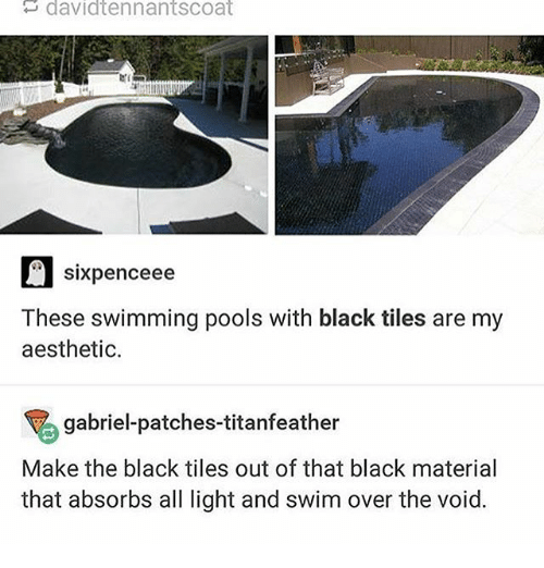 Ironic, Aesthetic, and Black: davidtennantscoat  sixpenceee  These swimming pools with black tiles are my  aesthetic.  gabriel-patches-titanfeather  Make the black tiles out of that black material  that absorbs all light and swim over the void.