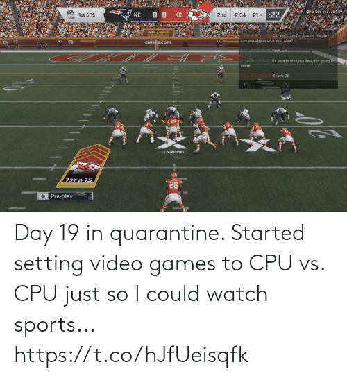 Video Games: Day 19 in quarantine. Started setting video games to CPU vs. CPU just so I could watch sports... https://t.co/hJfUeisqfk