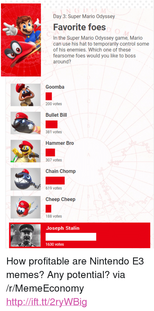 """goomba: Day 3: Super Mario Odyssey  Favorite foes  In the Super Mario Odyssey game, Mario  can use his hat to temporarily control some  of his enemies. Which one of these  fearsome foes would you like to boss  around?  Goomba  Sa 200 votes  Bullet Bil  381 votes  Hammer Bro  307 votes  Chain Chomp  619 votes  Cheep Cheep  188 votes  Joseph Stalin  1630 votes <p>How profitable are Nintendo E3 memes? Any potential? via /r/MemeEconomy <a href=""""http://ift.tt/2ryWBig"""">http://ift.tt/2ryWBig</a></p>"""