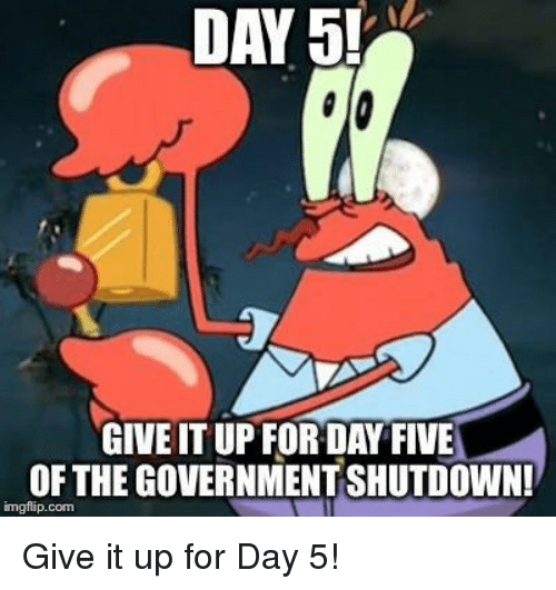 Government, Com, and Day: DAY 5!  GIVE IT UP FORDAY FIVE  OF THE GOVERNMENT SHUTDOWN!  imgflip.com Give it up for Day 5!