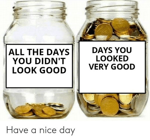 nice-day: DAYS YOU  LOOKED  VERY GOOD  ALL THE DAYS  YOU DIDN'T  LOOK GOOD Have a nice day
