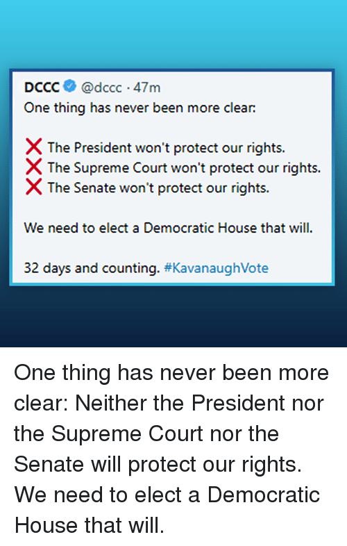 Memes, Supreme, and Supreme Court: DCCC@dccc 47m  One thing has never been more clear:  X The President won't protect our rights.  The Supreme Court won't protect our rights.  X The Senate won't protect our rights.  We need to elect a Democratic House that will  32 days and counting. #Kava naughVote One thing has never been more clear:   Neither the President nor the Supreme Court nor the Senate will protect our rights. We need to elect a Democratic House that will.