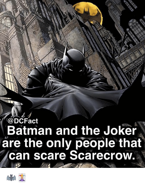 Batman, Joker, and Memes: @DCFact  Batman and the Joker  are the only people that  can scare Scarecrow 🦇🃏