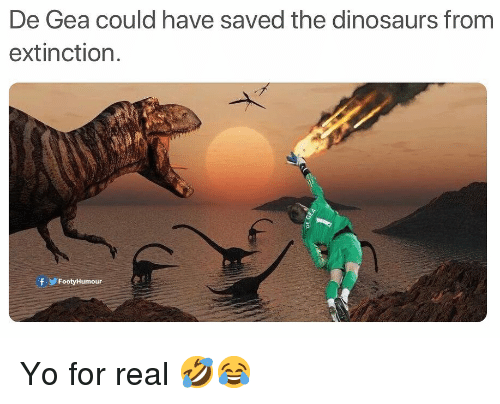 Memes, Yo, and Dinosaurs: De Gea could have saved the dinosaurs from  extinction.  fFootyHumour Yo for real 🤣😂