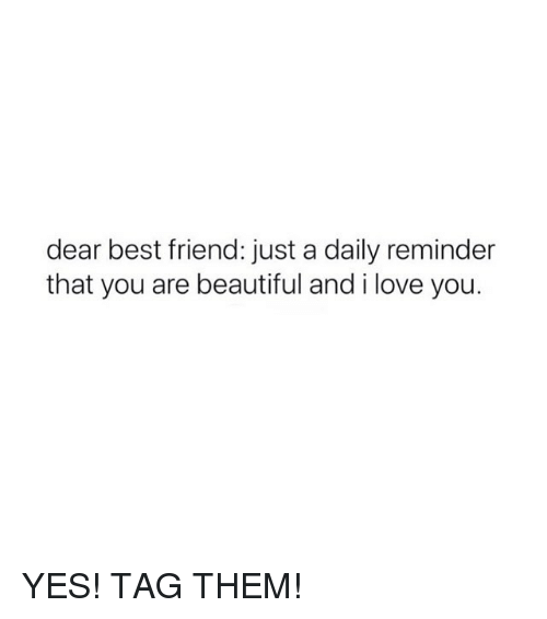 Beautiful, Best Friend, and Love: dear best friend: just a daily reminder  that you are beautiful and i love you. YES! TAG THEM!