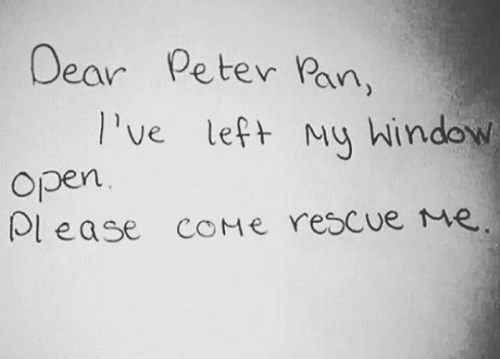 Peter Pan, Pan, and Rescue Me: Dear  Peter Pan,  Ive left My hindow  Open  lease COME rescue Me.