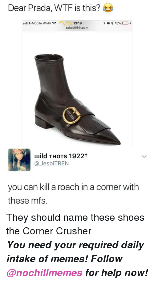 Memes, Shoes, and T-Mobile: Dear Prada, WTF is this?  Aİ 13:19  saksoff5th.com  ..li T-Mobile Wi-Fi令  uuild THOTs 1922t  lesbiTREN  you can kill a roach in a corner with  these mfs. <p>They should name these shoes the Corner Crusher</p><p><b><i>You need your required daily intake of memes! Follow <a>@nochillmemes</a> for help now!</i></b><br/></p>