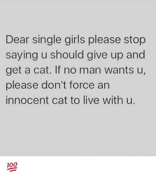 girl please: Dear single girls please stop  saying u should give up and  get a cat. If no man wants u,  please don't force an  innocent cat to live with u. 💯