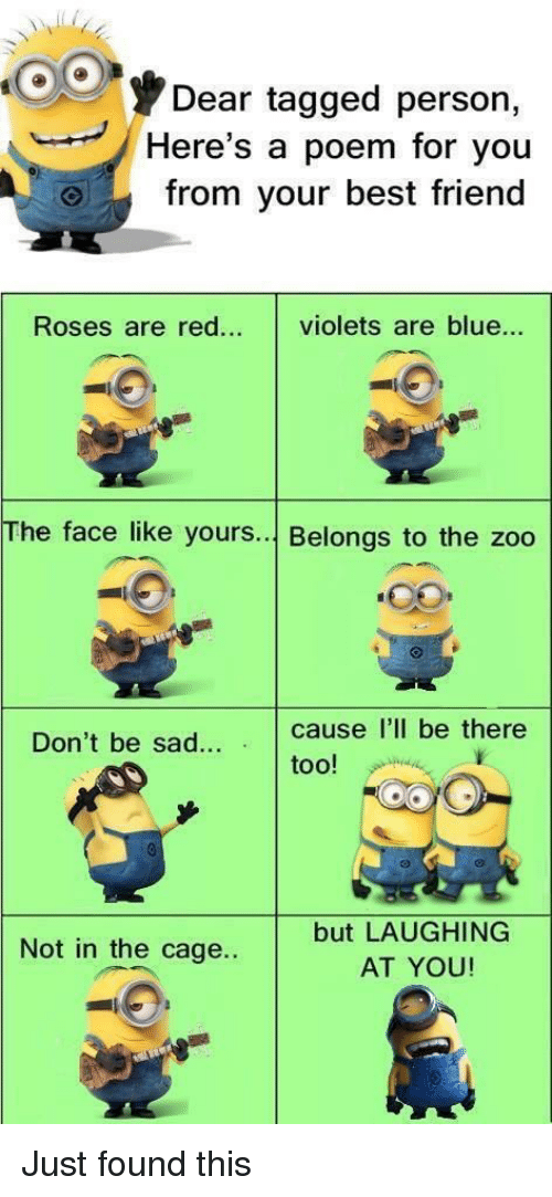Best Friend, Best, and Blue: Dear tagged persorn,  Here's a poem for you  from your best friend  Roses are red... violets are blue...  The face like yours... Belongs to the zoo  Don't be sad. cause I'll be there  too!  but LAUGHING  AT YOU!  Not in the cage..
