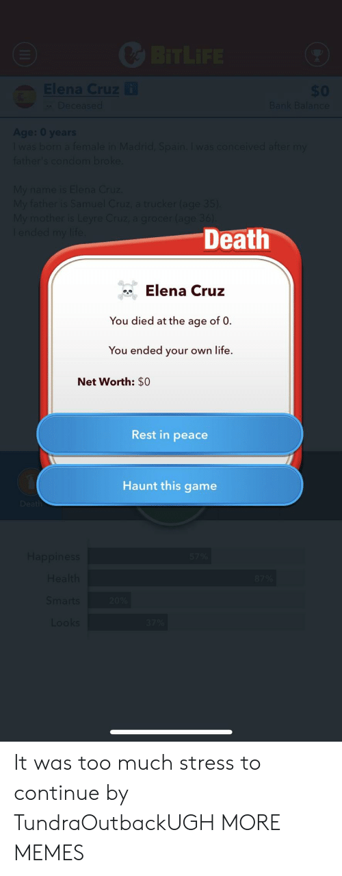 Dank, Life, and Memes: Death  Elena Cruz  You died at the age of 0  You ended your own life.  Net Worth: $0  Rest in peace  Haunt this game It was too much stress to continue by TundraOutbackUGH MORE MEMES