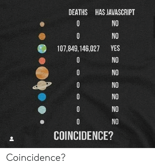 javascript: DEATHS HAS JAVASCRIPT  NO  0  0  NO  YES  107,849,146,027  NO  0  NO  0  NO  0  NO  0  NO  NO  COINCIDENCE? Coincidence?