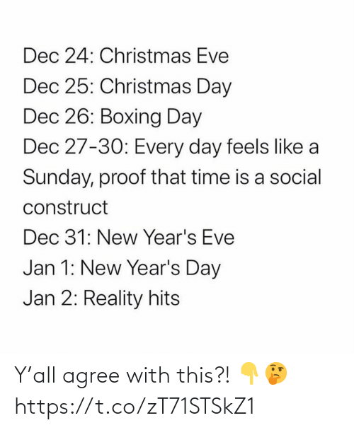 Hits: Dec 24: Christmas Eve  Dec 25: Christmas Day  Dec 26: Boxing Day  Dec 27-30: Every day feels like a  Sunday, proof that time is a social  construct  Dec 31: New Year's Eve  Jan 1: New Year's Day  Jan 2: Reality hits Y'all agree with this?! 👇🤔 https://t.co/zT71STSkZ1