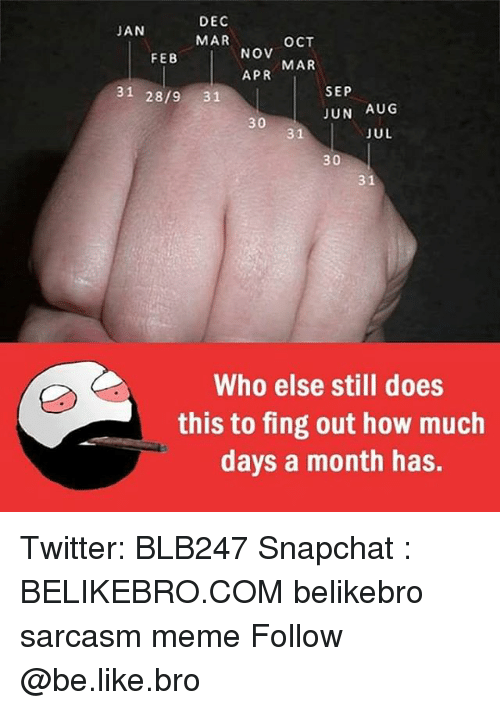 Be Like, Meme, and Memes: DEC  MAR  JAN  OCT  NOV  APR  FEB  MAR  31 28/9 31  SEP  JUN AUG  30  31  JUL  30  31  Who else still does  this to fing out how much  days a month has. Twitter: BLB247 Snapchat : BELIKEBRO.COM belikebro sarcasm meme Follow @be.like.bro
