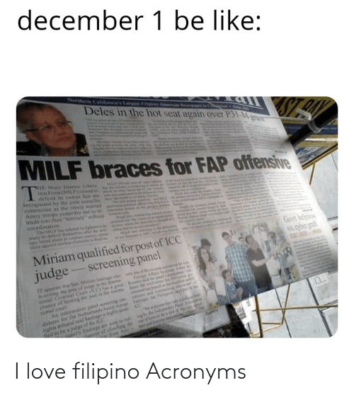 """sher: december 1 be like:  Norern Cahforis's  eFili on Ne  Deles in the hot seat again over P31-Mgran  MILF braces for FAP offensive  HE More lslame Libes  ton Troo (M1LFod  defend s camps that wre  recognized by the joint cesefin  commince s the rebels wamed  Amy toops yesterday not to in  trude into their """"territory"""" withou  coordination  the MILJ o  wdy tdefed themudes sher  ary hared plaes dc  Mai  Govt belples  Vs.cyber gn  Miriam qualified for post of ICC  judge  screening panel  IT sppears thar S Min S g  is eyeing the post of judge in the leserne  tional Comisal Coun itCC) he a e  chance of landing the p in the ea  tional court  An independen paoel screening can  didates for the Netherlands beed buman Satag  nghts tributal sad Santagois highly ali  Ged to be a judge of dhe ICC  ly  Afen Sein  sh  ioand  el's findings are seeh w bel. ng by  ances of clinching he  e feom Anle  Catry  nby leac I love filipino Acronyms"""