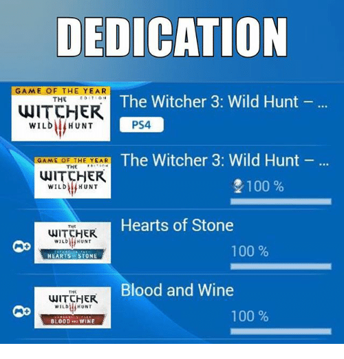 Anaconda, Memes, and Ps4: DEDICATION  GAME OF THE YEAR  The Witcher  3: Wild Hunt  THE  WITCHER  PS4  WILD HUNT  The Witcher 3: Wild Hunt  GAME OF THE YEAR  THE  WITCHER  2100  WILD HUNT  Hearts of Stone  HUNT  WILD  100  HEARTS i STONE  Blood and Wine  THR  WITCHER  WILD  HUNT  100  BLOOD  YINE