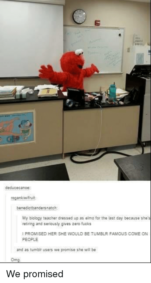 Elmo, Teacher, and Tumblr: deducecanoe  ogankwfruit  benedictbandersnatch  My biology teacher dressed up as elmo for the last day because she's  retiring and seriously gives zero fucks  I PROMISED HER SHE WOULD BE TUMBLR FAMOUS COME ON  PEOPLE  and as tumbir users we promise she wil be  Omm We promised