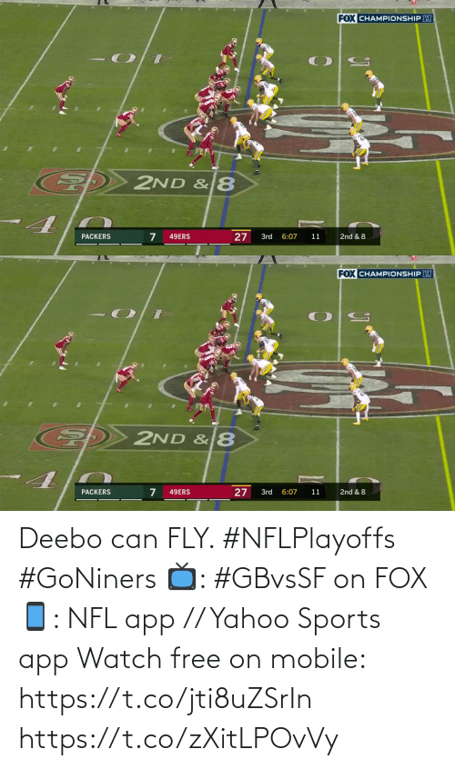 🤖: Deebo can FLY. #NFLPlayoffs #GoNiners  📺: #GBvsSF on FOX 📱: NFL app // Yahoo Sports app Watch free on mobile: https://t.co/jti8uZSrIn https://t.co/zXitLPOvVy