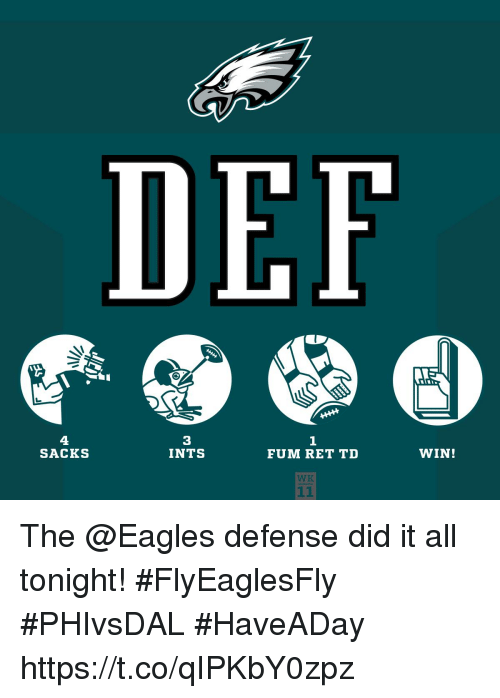 Philadelphia Eagles, Memes, and 🤖: DEF  4  SACKS  3  INTS  1  FUM RET TD  WIN!  WK The @Eagles defense did it all tonight! #FlyEaglesFly  #PHIvsDAL #HaveADay https://t.co/qIPKbY0zpz