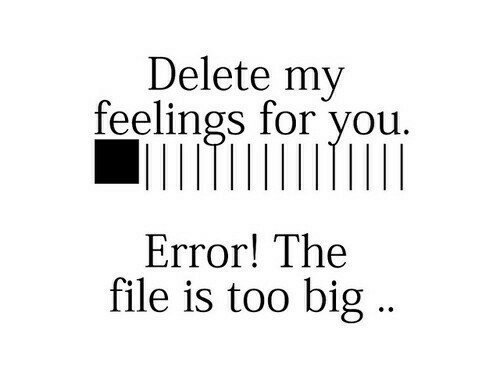 Big, You, and For: Delete my  feelings for you.  Error! The  file is too big