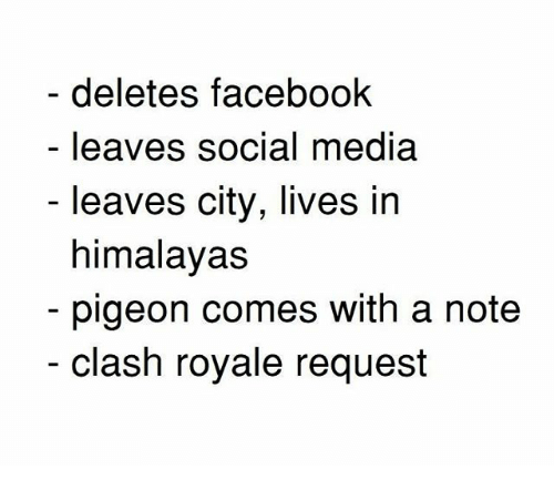 Facebook, Memes, and Social Media: deletes facebook  leaves social media  leaves city, lives in  himalavas  pigeon comes with a note  clash royale request