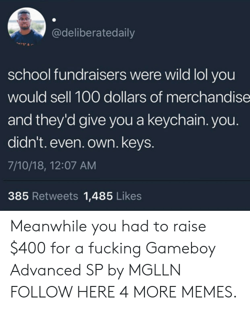 Anaconda, Dank, and Fucking: @deliberatedaily  school fundraisers were wild lol you  would sell 100 dollars of merchandise  and they'd give you a keychain. you.  didn't. even. own. keys  7/10/18, 12:07 AM  385 Retweets 1,485 Likes Meanwhile you had to raise $400 for a fucking Gameboy Advanced SP by MGLLN FOLLOW HERE 4 MORE MEMES.