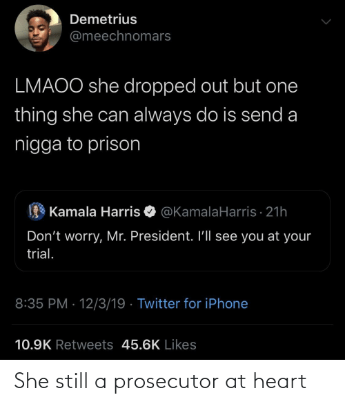 Iphone, Twitter, and Prison: Demetrius  @meechnomars  LMAOO she dropped out but one  thing she can always do is send a  nigga to prison  Kamala Harris O @KamalaHarris · 21h  Don't worry, Mr. President. I'll see you at your  trial.  8:35 PM · 12/3/19 · Twitter for iPhone  10.9K Retweets 45.6K Likes She still a prosecutor at heart