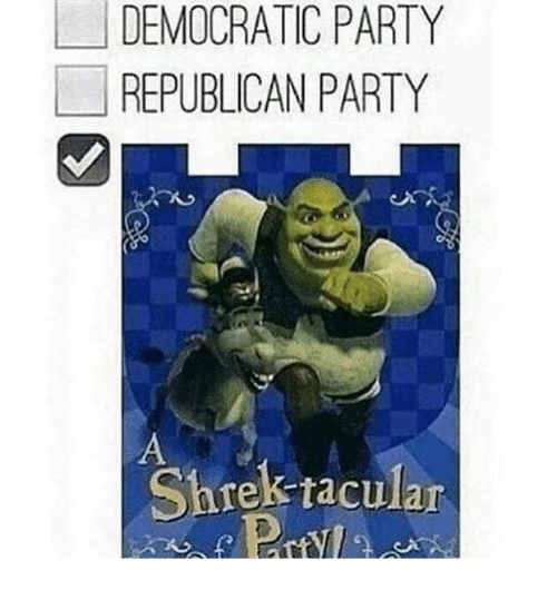 democratic: DEMOCRATIC PARTY  REPUBLICAN PARTY  Shrek raculan