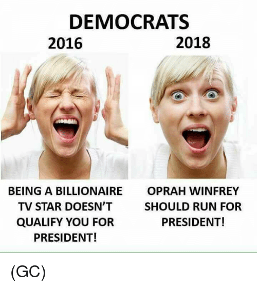 Memes, Oprah Winfrey, and Run: DEMOCRATS  2016  2018  BEING A BILLIONAIRE  TV STAR DOESN'T  QUALIFY YOU FOR  PRESIDENT!  OPRAH WINFREY  SHOULD RUN FOR  PRESIDENT! (GC)