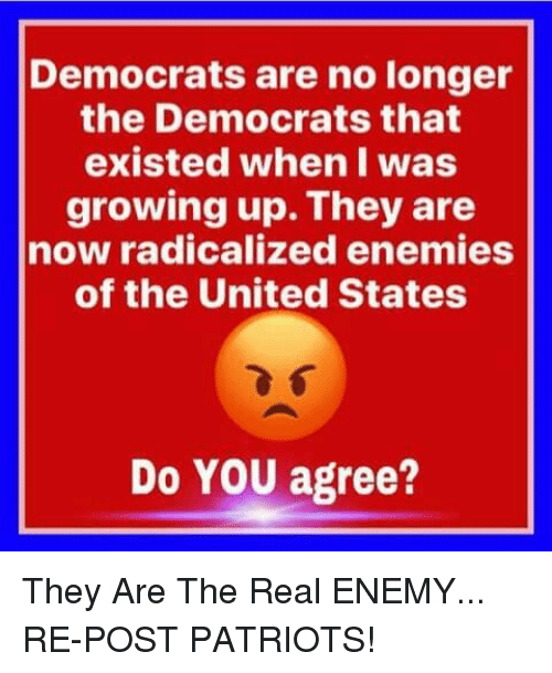 Growing Up, Memes, and Patriotic: Democrats are no longer  the Democrats that  existed when I was  growing up. They are  now radicalized enemies  of the United States  Do YOU agree? They Are The Real ENEMY... RE-POST PATRIOTS!