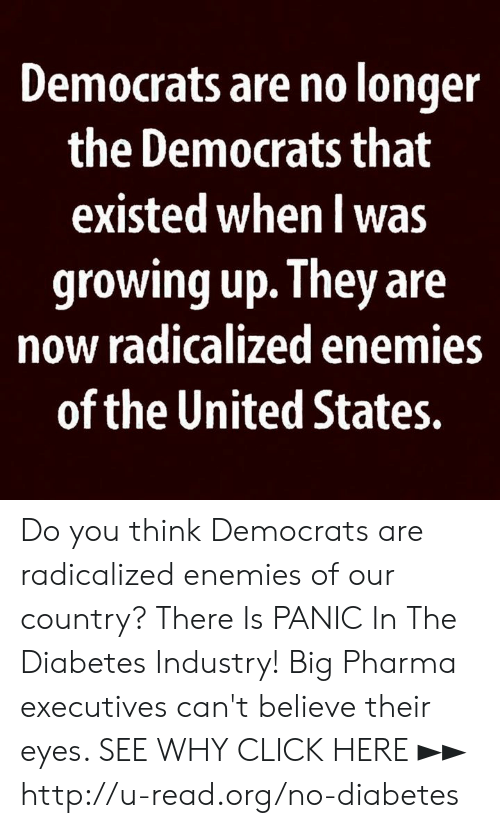 Click, Growing Up, and Memes: Democrats are no longer  the Democrats that  existed when l was  growing up. They are  now radicalized enemies  of the United States. Do you think Democrats are radicalized enemies of our country?  There Is PANIC In The Diabetes Industry! Big Pharma executives can't believe their eyes. SEE WHY CLICK HERE ►► http://u-read.org/no-diabetes