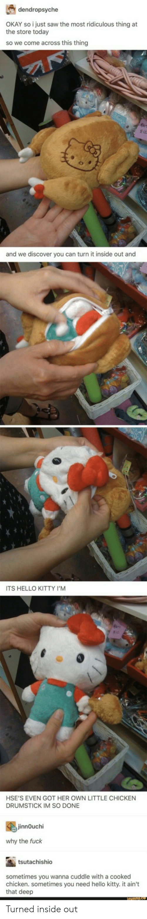 inside out: dendropsyche  the store torstysaw the most ridiculous thing at  the store today  so we come across this thing  and we discover you can turn it inside out and  ITS HELLO KITTY I'M  HSE'S EVEN GOT HER OWN LITTLE CHICKEN  DRUMSTICK IM SO DONE  innOuchi  why the fuck  tsutachishio  sometimes you wanna cuddle with a cooked  chicken. sometimes you need hello kitty. it ain't  that deep Turned inside out