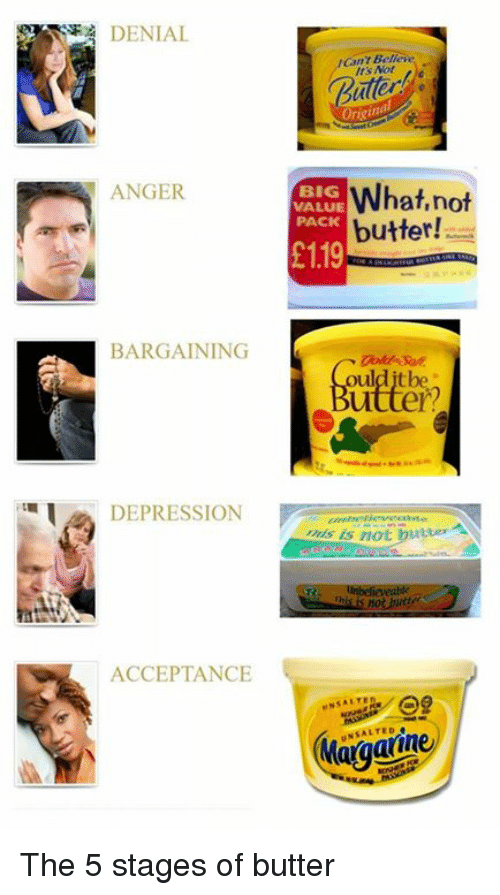 Depression, Big, and Anger: : DENIAL  Cant Bellere  Its Not  Buler  Origi  ANGER  BIG  VALUE  PACK  What.not  butter  1.19  BARGAINING  DEPRESSION  s is not butter  ACCEPTANCE  NSALTED The 5 stages of butter