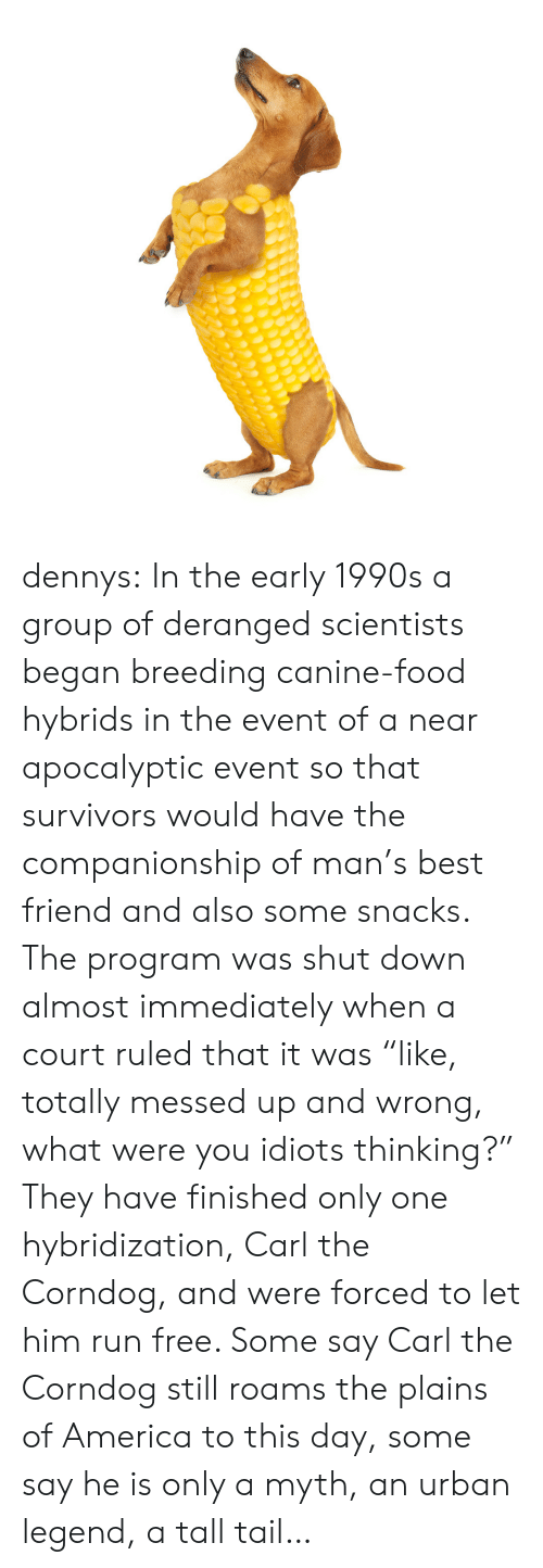"America, Best Friend, and Denny's: dennys:  In the early 1990s a group of deranged scientists began breeding canine-food hybrids in the event of a near apocalyptic event so that survivors would have the companionship of man's best friend and also some snacks. The program was shut down almost immediately when a court ruled that it was ""like, totally messed up and wrong, what were you idiots thinking?"" They have finished only one hybridization, Carl the Corndog, and were forced to let him run free. Some say Carl the Corndog still roams the plains of America to this day, some say he is only a myth, an urban legend, a tall tail…"