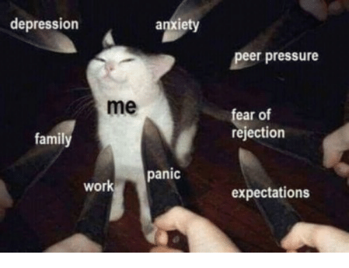 peer: depression  anxiety  peer pressure  me  ear of  rejection  famil  panic  work  expectations