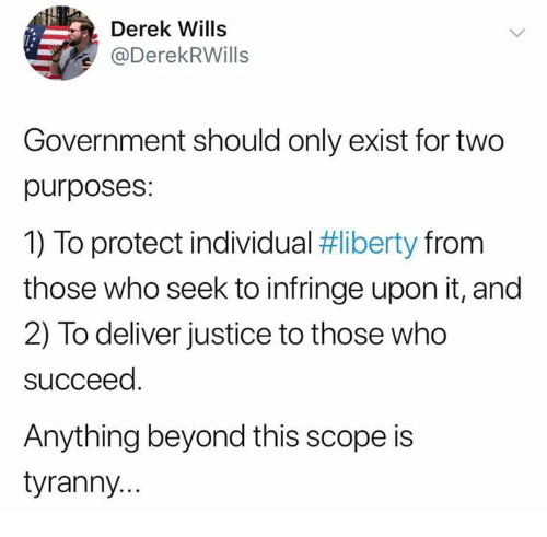 Memes, Justice, and Government: Derek Wills  @DerekRWills  Government should only exist for two  purposes:  1) To protect individual #liberty from  those who seek to infringe upon it, and  2) To deliver justice to those who  succeed  Anything beyond this scope is  tyranny..