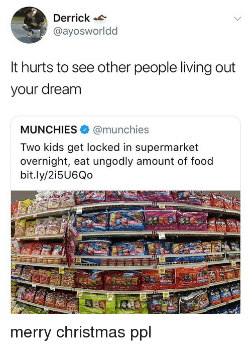 Christmas, Food, and Munchies: Derrick  @ayosworldd  It hurts to see other people living out  your dream  MUNCHIES. @munchies  Two kids get locked in supermarket  overnight, eat ungodly amount of food  bit.ly/2i5U6Qo merry christmas ppl