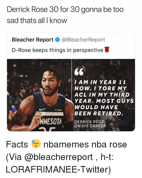acl: Derrick Rose 30 for 30 gonna be too  sad thats all I know  Bleacher Report·@BleacherReport  D-Rose keeps things in perspective  $6  I AM IN YEAR 11  NOW. I TORE MY    ACL IN MY THIRD  YEAR. MOST GUYS  WOULD HAVE  BEEN RETIRED.  DERRICK ROSE  ON HIS CAREER Facts 😓 nbamemes nba rose (Via @bleacherreport , h-t: LORAFRIMANEE-Twitter)
