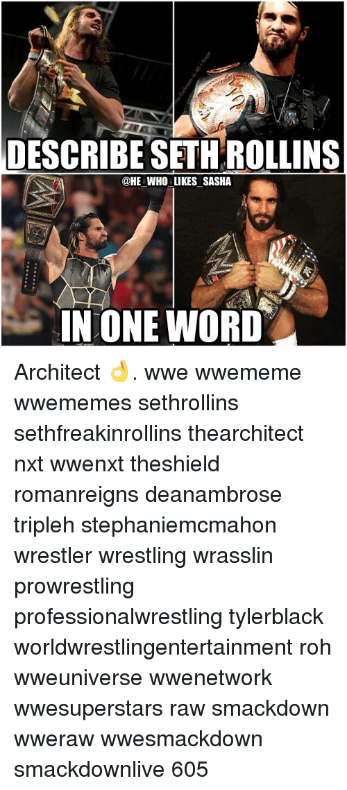 Memes, Wrestling, and Seth Rollins: DESCRIBE SETH ROLLINS  @HE WHO LIKES SASHA  IN ONE WORD Architect 👌. wwe wwememe wwememes sethrollins sethfreakinrollins thearchitect nxt wwenxt theshield romanreigns deanambrose tripleh stephaniemcmahon wrestler wrestling wrasslin prowrestling professionalwrestling tylerblack worldwrestlingentertainment roh wweuniverse wwenetwork wwesuperstars raw smackdown wweraw wwesmackdown smackdownlive 605