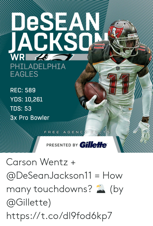 Philadelphia Eagles, Memes, and Philadelphia: DeSEAN  JACKS  PHILADELPHIA  EAGLES  REC: 589  YDS: 10,261  TDS: 53  3x Pro Bowler  PRESENTED BY GillefHe Carson Wentz + @DeSeanJackson11 = How many touchdowns? 🦅  (by @Gillette) https://t.co/dl9fod6kp7