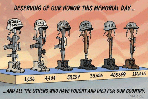Memes, Iraq, and Memorial Day: DESERVING OF OUR HONOR THIS MEMORIAL DAY...  AFGHAN  ISTAN  IRAQ  IETNAM  KOREA  WWI  1086 4404 58209 33,686 405399 116,516  .AND ALL THE OTHERS WHO HAVE FOUGHT AND DIED FOR OUR COUNTRY.  PTAMIOL