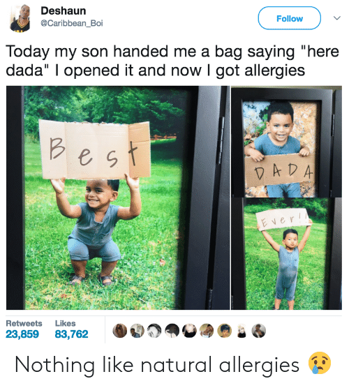 """Dada, Got, and Boi: Deshaun  @Caribbean Boi  Follow  lodav my son hand  ed me a bag saying  """"here  dada"""" I opened it and now I got allergies  e g  ver  Retweets Likes  23,85983,762 Nothing like natural allergies 😢"""