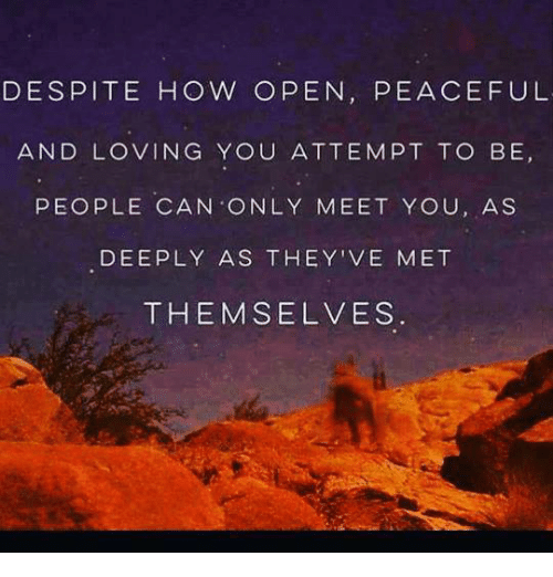 Love, Memes, and Mets: DESPITE HOW OPEN, PEACEFUL  AND LOVING YOU ATTEMPT TO BE  PEOPLE CAN ONLY MEET YOU, AS  DEEPLY AS THEY'VE MET  THEMSELVES