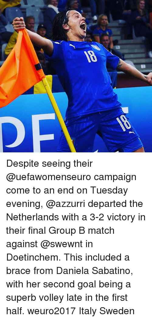 Finals, Goals, and Memes: Despite seeing their @uefawomenseuro campaign come to an end on Tuesday evening, @azzurri departed the Netherlands with a 3-2 victory in their final Group B match against @swewnt in Doetinchem. This included a brace from Daniela Sabatino, with her second goal being a superb volley late in the first half. weuro2017 Italy Sweden