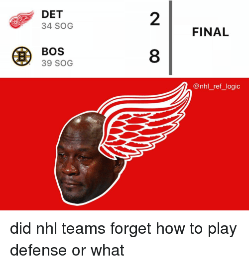 Logic, Memes, and National Hockey League (NHL): DET  34 SOG  2  FINAL  BOS  39 SOG  8  @nhl_ref_logic did nhl teams forget how to play defense or what
