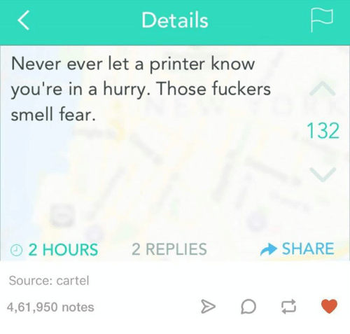 Smell, Humans of Tumblr, and Fear: Details  Never ever let a printer know  you're in a hurry. Those fuckers  smell fear.  132  SHARE  2 HOURS  2 REPLIES  Source: cartel  4,61,950 notes