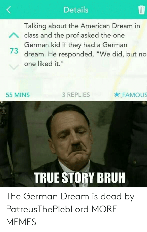 """Bruh, Dank, and Memes: Details  Talking about the American Dream in  German kid if they had a German  one liked it.""""  A class and the prof asked the one  73 dream. He responded, """"We did, but no  55 MINS  3 REPLIES  FAMOUS  TRUE STORY BRUH The German Dream is dead by PatreusThePlebLord MORE MEMES"""