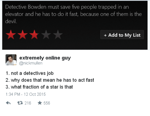 Mean, Star, and Add: Detective Bowden must save five people trapped in an  elevator and he has to do it fast, because one of them is the  evi  +Add to My List  extremely online guy  anickmullen  1. not a detectives job  2. why does that mean he has to act fast  3. what fraction of a star is that  1:34 PM-12 Oct 2015  13 216  556